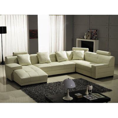 Hokku Designs Left Leather Sectional