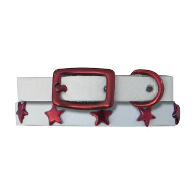 Genuine White Leather Cat / Puppy Collar with Stars