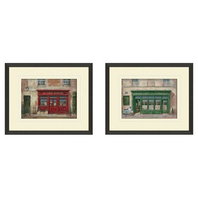 Vintage Grand Cafe 2 Piece Framed Art Set