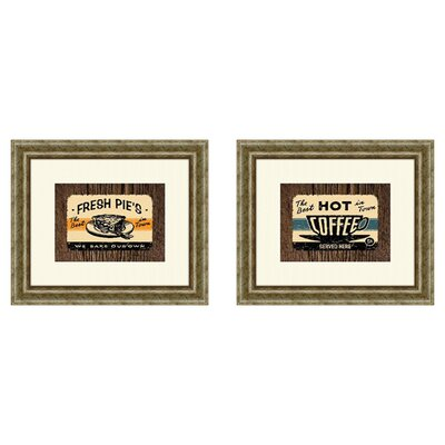 Vintage Hot Coffee 2 Piece Framed Art Set