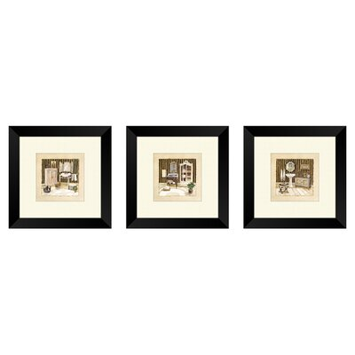<strong>Pro Tour Memorabilia</strong> Bath Vintage Bath Framed Art (Set of 3)
