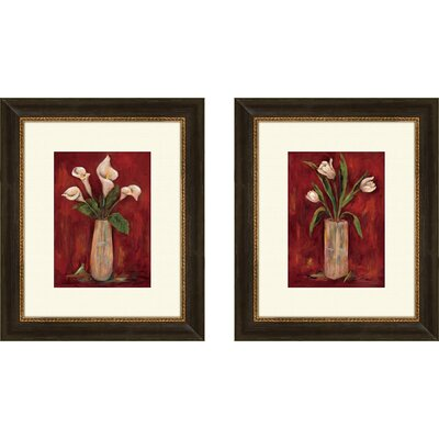 Pro Tour Memorabilia Floral Red Hot Callas Framed Art (Set of 2)