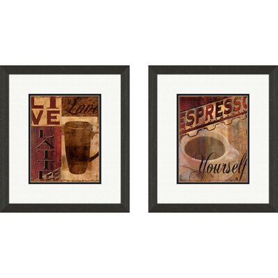 Kitchen Live, Love, Latte 2 Piece Framed Graphic Art Set