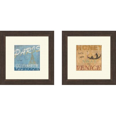 Pro Tour Memorabilia Vintage Paris Framed Art Brown (Set of 2)