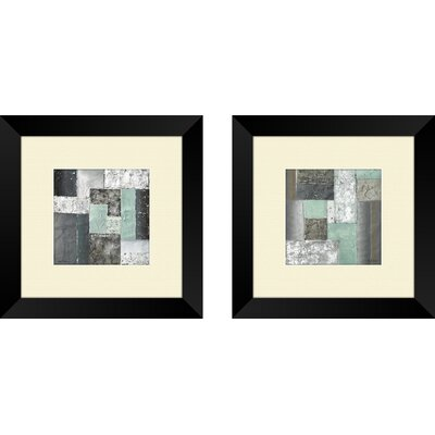 Contemporary Quadrangle 2 Piece Framed Painting Print Set