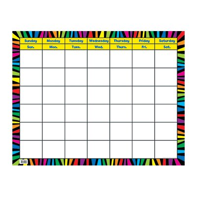 Creative Teaching Press Rainbow Stripes Calendar Chart Pp