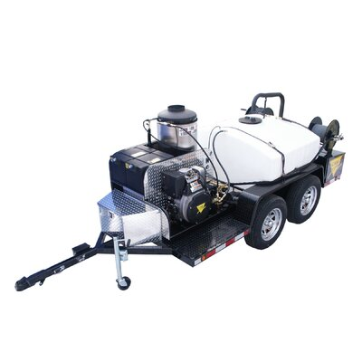 4000 PSI Hot Water Gas Trailer Mounted Pressure Washer with 24 HP Honda Engine