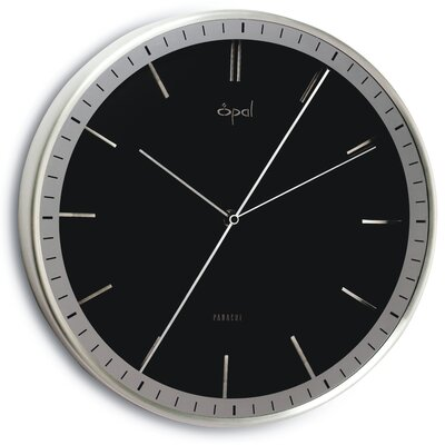 Opal Luxury Time Products Opal Aluminium Case Dial Clock in Shiny Black