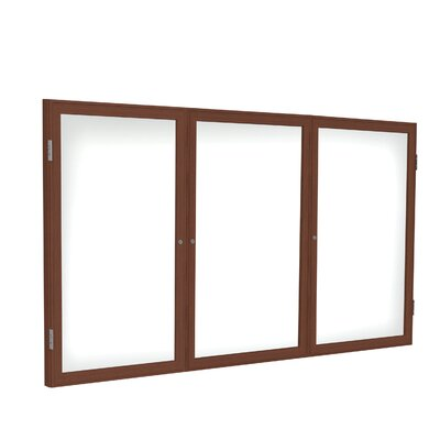 Ghent 3 Door Wood Frame Enclosed Porcelain Magnet Whiteboard