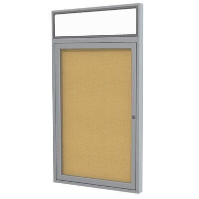 Ghent 1 Door Aluminum Frame Enclosed Natural Cork Tackboard