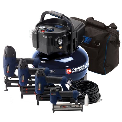 Campbell Hausfeld 6 Gallon Air Compressor Inflation and Fastening with 4 Nailer Kit