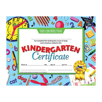 Hayes School Publishing Kindergarten Certificate