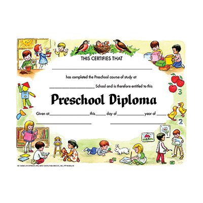 Hayes School Publishing Diplomas Preschool 30 Pk 8.5 X 11