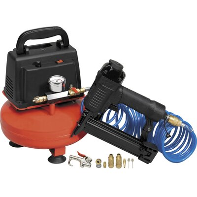 All Power America 1/3 HP 1 Gallon 90 PSI Air Compressor With 20 Gauge Nailer/Stapler & 8 Accessories