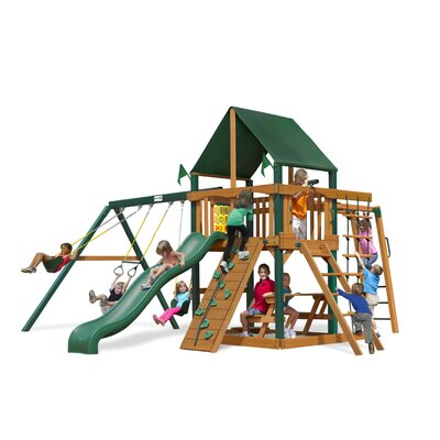 Navigator Swing Set with Canvas Green Sunbrella Canopy