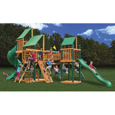 Gorilla Playsets Treasure Trove Swing Set with Green Vinyl Canopy