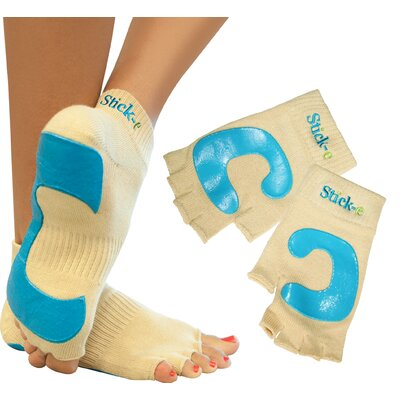 Stick-E Yoga Socks and Gloves Combo with DVD