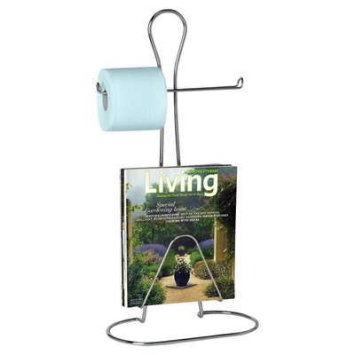 Bath Man Toilet Paper Holder with Magazine Rack in Chrome