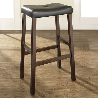 "Crosley Upholstered 29"" Saddle Seat Bar Stool in Vintage Mahogany Finish"