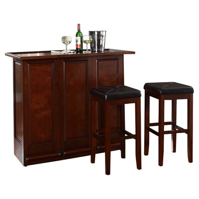 "Crosley Mobile Folding Bar in Vintage Mahogany with 29"" Upholstered Square Seat Stool in Mahogany"