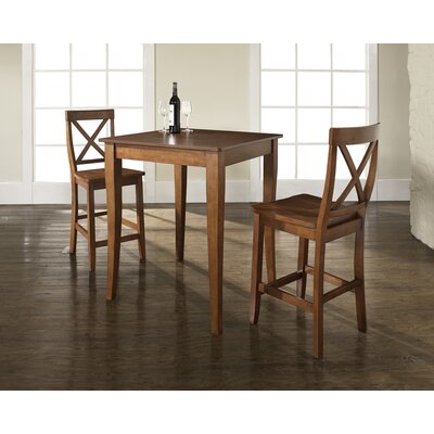 Crosley Three Piece Pub Dining Set with Cabriole Leg Table and X-Back Barstools in Classic Cherry