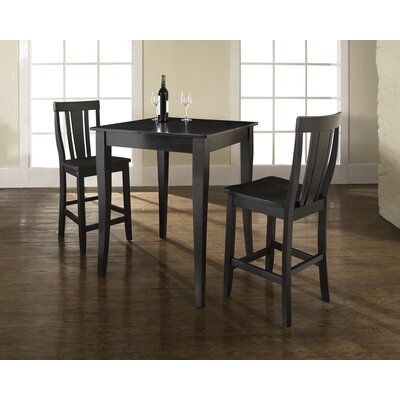 Crosley Three Piece Pub Dining Set with Cabriole Leg Table and Shield Back Barstools in Black