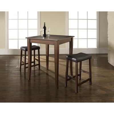 Crosley Three Piece Pub Dining Set with Cabriole Leg Table and Saddle Seat Barstools in Vintage Mahogany
