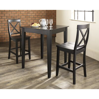 Crosley Three Piece Pub Dining Set with Tapered Leg Table and X-Back Barstools in Black