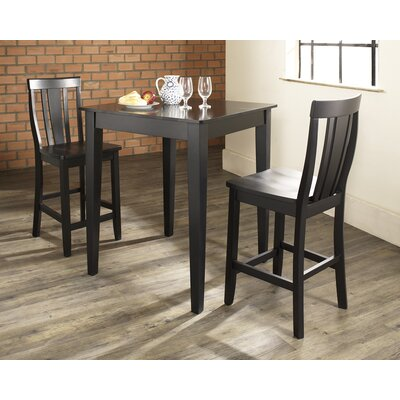 Three Piece Pub Dining Set with Tapered Leg Table and Shield Back Barstools in Black ...
