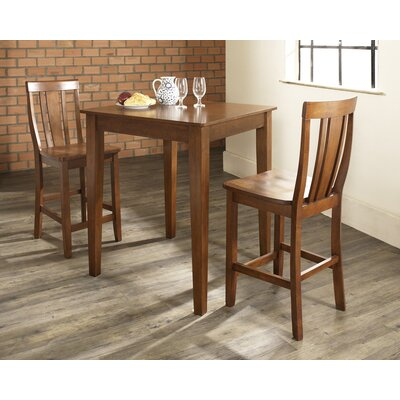 Crosley Three Piece Pub Dining Set with Tapered Leg Table and Shield Back Barstools in Classic Cherry