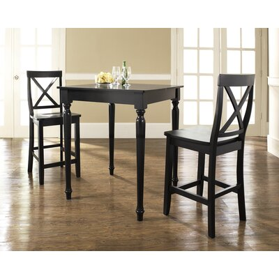 Crosley Three Piece Pub Dining Set with Turned Leg Table and X-Back Barstools in Black