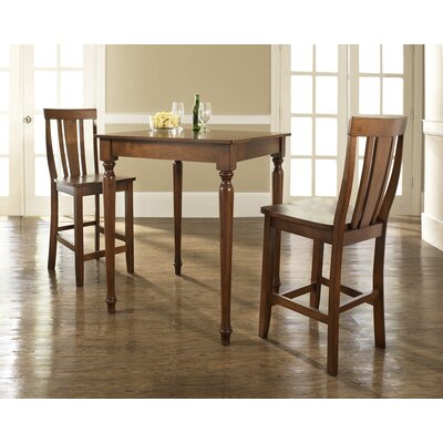 Crosley Three Piece Pub Dining Set with Turned Leg Table and Shield Back Barstools in Classic Cherry