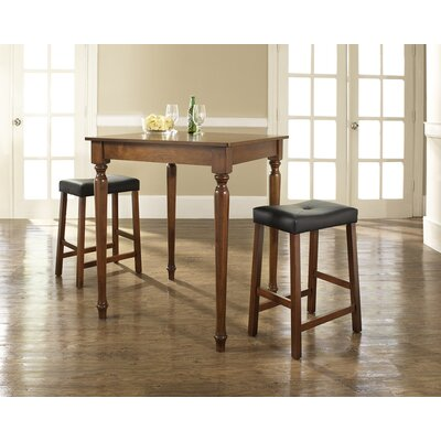 Three Piece Pub Dining Set with Turned Leg Table and Saddle Seat Barstools in Classic ...