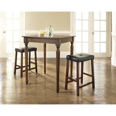 Three Piece Pub Dining Set with Turned Leg Table and Saddle Seat Barstools in Vintage ...
