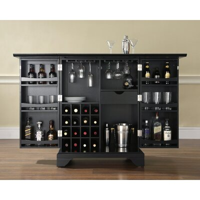 Crosley LaFayette Expandable Bar Cabinet in Black