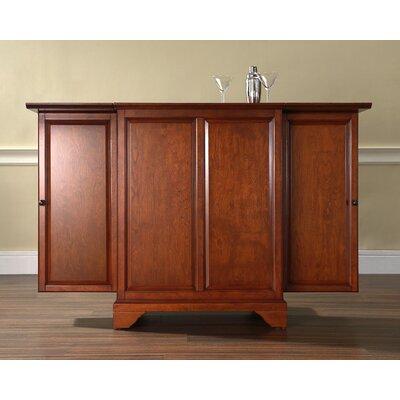 Crosley LaFayette Expandable Bar Cabinet in Classic Cherry