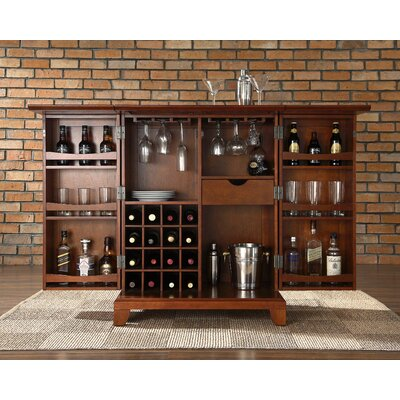Crosley Newport Expandable Bar Cabinet in Classic Cherry