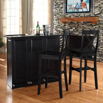 "Crosley Mobile Folding Bar in Black with 30"" X-Back Stool in Black"
