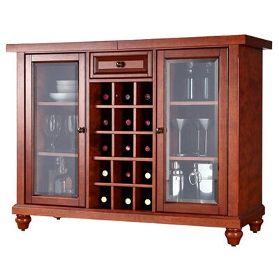 Crosley Cambridge Sliding Top Bar Cabinet in Classic Cherry