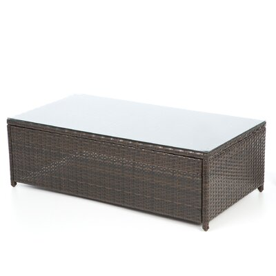Crosley Palm Harbor Outdoor Wicker Glass Top Coffee Table