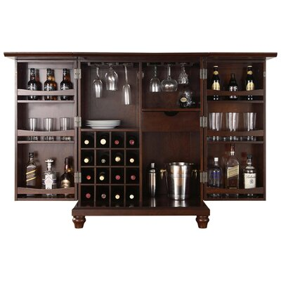 Crosley Cambridge Expandable Bar Cabinet in Vintage Mahogany