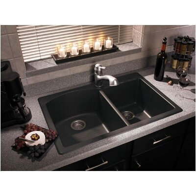 "Swanstone Classics 33"" x 22"" Granite Double Bowl Kitchen Sink"