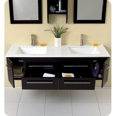 "Fresca Stella Bellezza 59"" Modern Double Sink Bathroom Vanity Set"