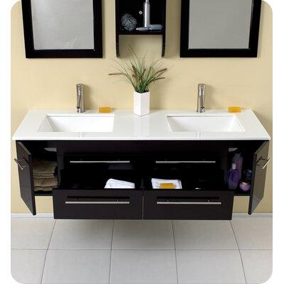 "Fresca Stella Bellezza 59"" Modern Double Sink Bathroom Vanity Set"