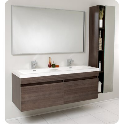 "Fresca Senza 56.5"" Largo Modern Bathroom Vanity Set with Wavy Double Sinks"