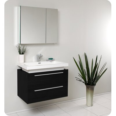 "Fresca Senza 31.25"" Medio Modern Bathroom Vanity Set with Medicine Cabinet"