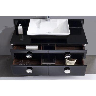 "Fresca Moselle 47"" Modern Glass Bathroom Vanity Set with Mirror"