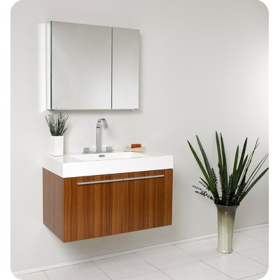 "Fresca Senza 35.5"" Vista Modern Bathroom Vanity Set with Medicine Cabinet"