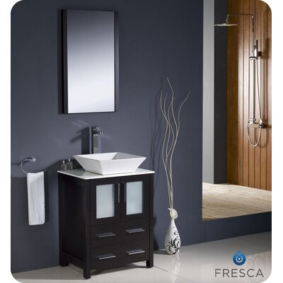 "Fresca Torino 24"" Modern Bathroom Vanity Set with Vessel Sink"