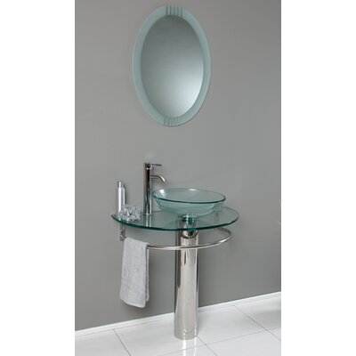 "Fresca Vetro 29.5"" Attrazione Modern Glass Bathroom Vanity Set with Edge Mirror"